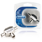 BVP425 Coax-adapter 2x coaxconnector male (iec) - coax female (iec) zilver