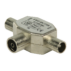 VLSP40950M Coax-adapter 2x coaxconnector male (iec) - coax female (iec) zilver