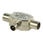 VLSP40951M Coax-adapter coax male (iec) - 2x coaxconnector female (iec) zilver