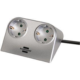 1153540 Stekkerdoos desktop-power 2-wegs 1.80 m zilver - protective contact