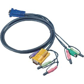 2L-5303P Kvm kabel vga female 15-pins / 2x ps/2-connector - vga male / 2x ps/2-connector 3.0 m