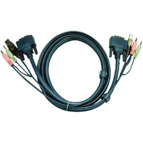 2L-7D02UD Kvm kabel dvi-d 24+1-pins male / usb a male / 2x 3.5 mm male - dvi-d 24+1-pins male / usb a male / 2