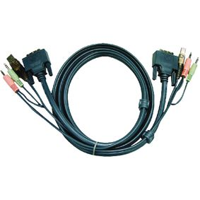 2L-7D03UD Kvm kabel dvi-d 24+1-pins male / usb a male / 2x 3.5 mm male - dvi-d 24+1-pins male / usb a male / 2