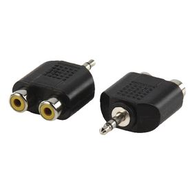 AC-010 Stereo-audio-adapter 3.5 mm male - 2x rca female zwart