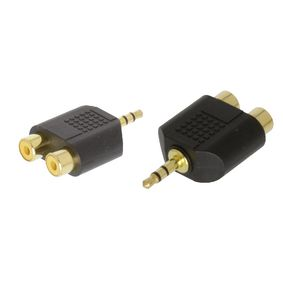 AC-010GOLD Stereo-audio-adapter 3.5 mm male - 2x rca female zwart