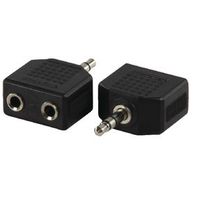 AC-012 Stereo-audio-adapter 3.5 mm male - 2x 3.5 mm female zwart