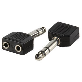 AC-014 Stereo-audio-adapter 6.35 mm male - 2x 3.5 mm female zwart