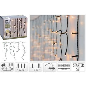 AX4231100 Connectable christmas icicle lights | starter set | 100 led | warm white | 230 v
