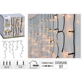 AX4231300 Connectable christmas icicle lights | extension set | 100 led | warm white | 230 v
