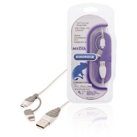 BBM39400W10 2-in-1 data en oplaadkabel usb a male - micro-b male 1.00 m wit