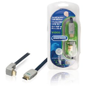 BVL1341 High speed hdmi kabel met ethernet hdmi-connector - hdmi-connector haaks 90° 1.00 m blauw