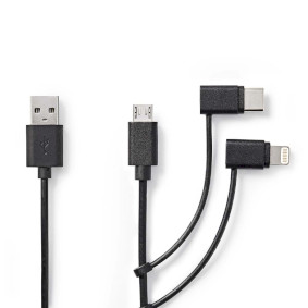 CCGP60620BK10 3-in-1 sync and charge-kabel | usb-a male - micro b male / type-c™ male / apple lightning 8-pi