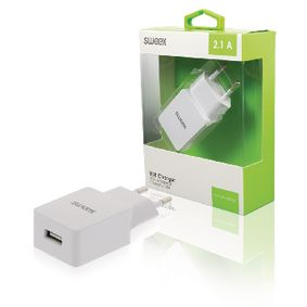 CH-001WH Lader 1-Uitgang 2.1 A USB Wit