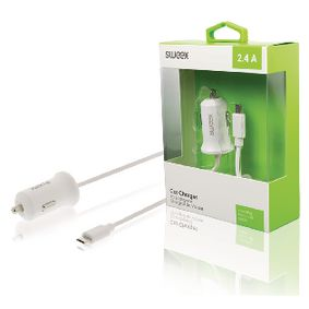 CH-008WH Autolader 2.4 a micro-usb wit