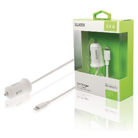 CH-009WH Autolader 2.4 A Apple Lightning Wit