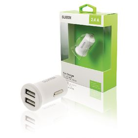 CH-011WH Autolader 2-uitgangen 2.4 a 2x usb wit