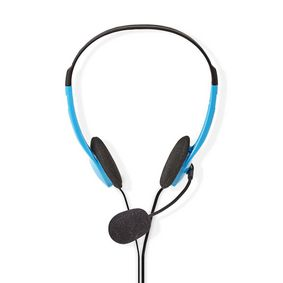 CHST100BU Pc-headset | on-ear | stereo | 2x 3.5 mm | opvouwbare microfoon | 2.00 m | blauw