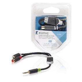 KNA22250E02 Stereo audiokabel 3.5 mm male - 2x rca female 0.20 m antraciet