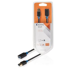 KNC61010E20 USB 3.0 Verlengkabel USB A Male - USB A Female 2.00 m Antraciet