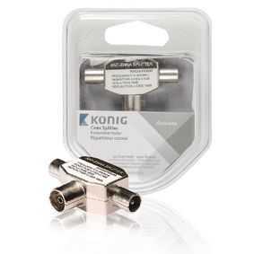 KNS40950W Coax-Adapter 2x Coaxconnector Male (IEC) - Coax Female (IEC) Wit
