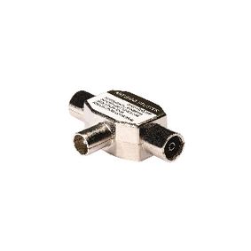 KNS40951W Coax-Adapter Coax Male (IEC) - 2x Coaxconnector Female (IEC) Wit