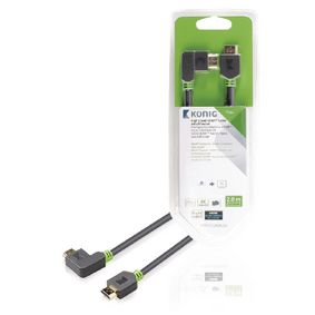 KNV34260E20 High Speed HDMI kabel met Ethernet HDMI-Connector - HDMI-Connector Haaks Rechts 2.00 m Antraciet