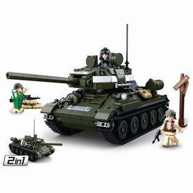 M38-B0689 Bouwstenen wwii serie t-34\85 allied tank 2 in 1