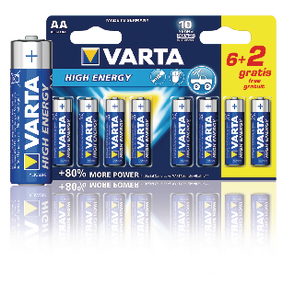 VARTA-4906SO Alkaline Batterij AA 1.5 V High Energy 8-Promotional Blister
