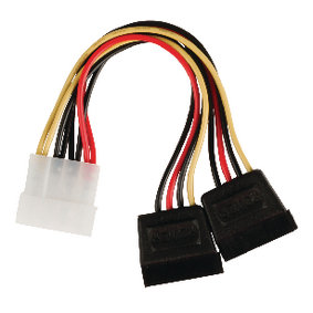 VLCP73520V015 Interne Stroomkabel Molex Male - 2x SATA 15-Pins Female 0.15 m