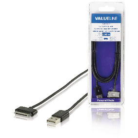 VLMB39100B20 Data en oplaadkabel apple dock 30-pins - usb a male 2.00 m zwart