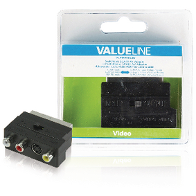 VLVB31902B SCART-Adapter Schakelbaar SCART Male - S-Video Female + 3x RCA Female Zwart