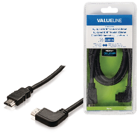 VLVB34250B20 High Speed HDMI kabel met Ethernet HDMI-Connector - HDMI-Connector Haaks Links 2.00 m Zwart