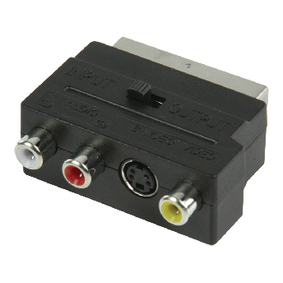 VLVP31902B SCART-Adapter Schakelbaar SCART Male - S-Video Female + 3x RCA Female Zwart