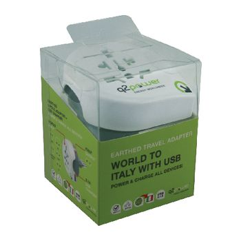 1.100190 Reisadapter wereld-naar-italië usb geaard Verpakking foto