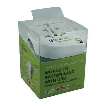 1.100210 Reisadapter wereld-naar-zwitserland usb geaard Verpakking foto