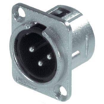 NTR-NC3MD-L-1 Xlr panel-mount male receptacle 3 n/a dl soldeer connectie vernikkeld