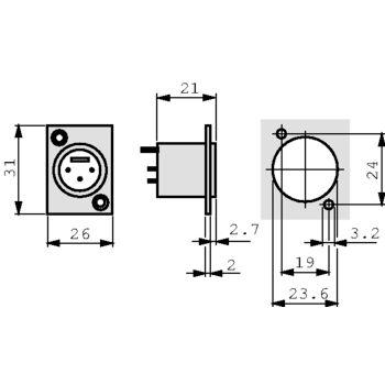 NTR-NC3MD-L-1 Xlr panel-mount male receptacle 3 n/a dl soldeer connectie vernikkeld Product foto