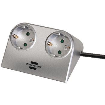 1153540 Stekkerdoos desktop-power 2-wegs 1.80 m zilver - geaard