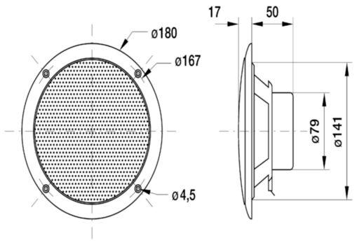 VS-FR16WP/S Full-range zoutwaterbestendige 16 cm luidspreker Product foto