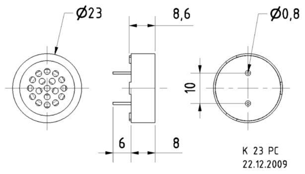 VS-K23PC Pcb speaker 23 mm Product foto