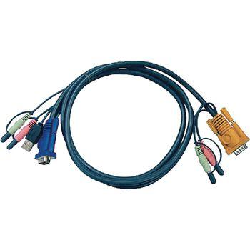 2L-5302U Kvm kabel vga male / usb a male / 2x 3.5 mm male / 2x connector 3.5 mm - aten sphd15-y / 2x connecto
