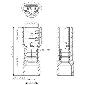 RND 465-00006 Blade receptacle geel 6.3 x 0.8 mm n/a pu = 100 st