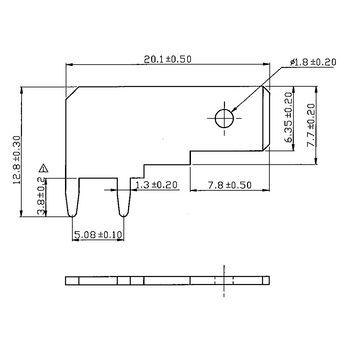 RND 465-00011 Push-on blade terminal n/a 6.3 x 0.8 mm pu = 100 st Product foto