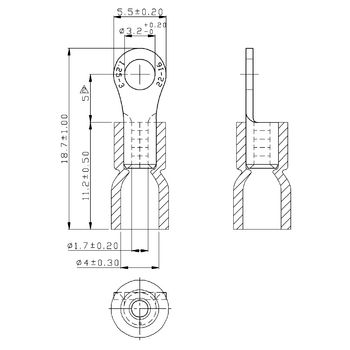 RND 465-00021 Ring terminal rood 3.2 mm n/a pu = 100 st Product foto