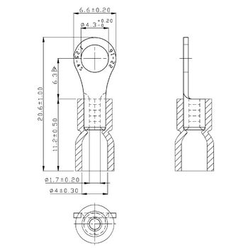 RND 465-00022 Ring terminal rood 4.3 mm n/a pu = 100 st Product foto