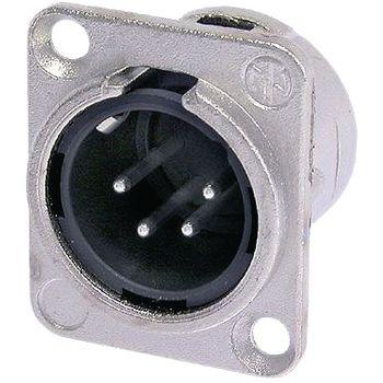 NTR-NC4MD-L-1 Xlr panel-mount male receptacle 4 n/a dl soldeer connectie vernikkeld