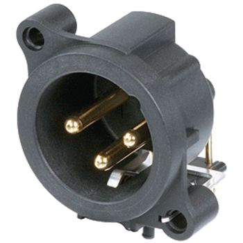 NTR-NC3MAH Xlr panel-mount male receptacle 3 a horizontaal / pcb mounting zwart