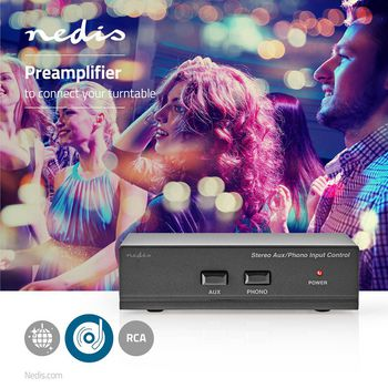AAMP2402BK Voorversterker | input: 2x (2x rca) | output: 1x (2x rca) | aux / phono / platenspeler | handmatig | Product foto
