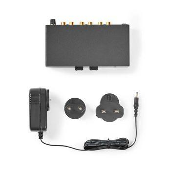 AAMP2402BK Voorversterker | input: 2x (2x rca) | output: 1x (2x rca) | aux / phono / platenspeler | handmatig | Inhoud verpakking foto
