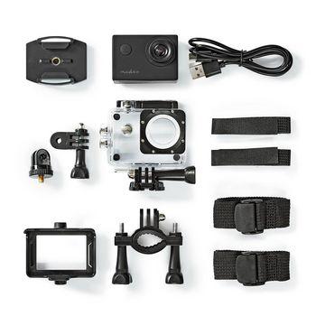 ACAM04BK Action cam | 720p@30fps | 5 mpixel | waterbestendig tot: 30.0 m | 90 min | mounts inbegrepen | zwart Inhoud verpakking foto